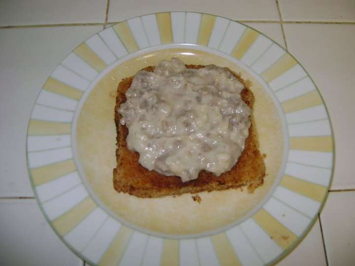 Step 1.  Sausage gravy on the grilled cheese