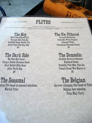 Flites done right!  A glorious menu from Tyler's in Durham, NC